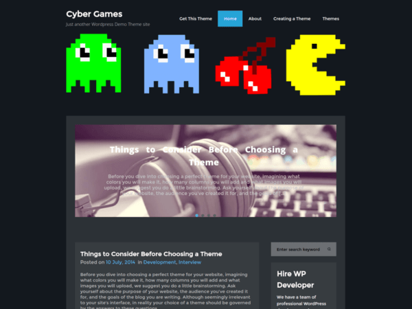 Cyber Games (WordPress theme for gaming sites) Item Picture
