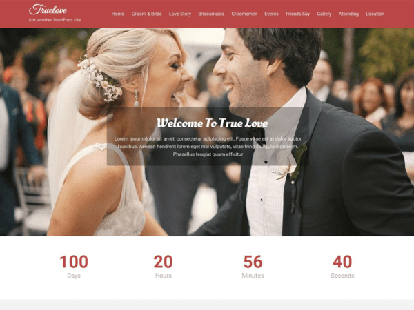 True Love (free wedding invitation WordPress theme) Item Picture