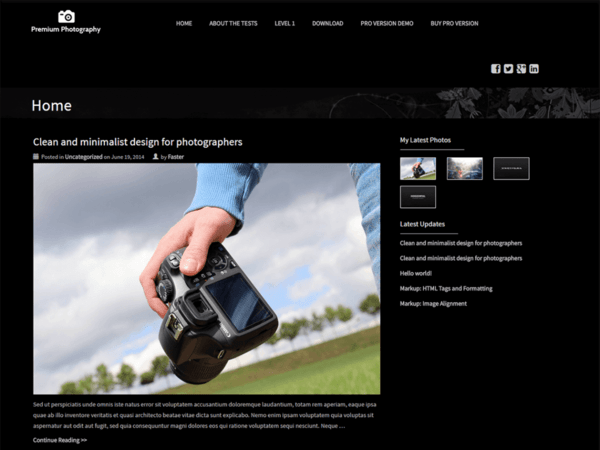 Premium Photography (dark WordPress theme for photography and photographers) Item Picture