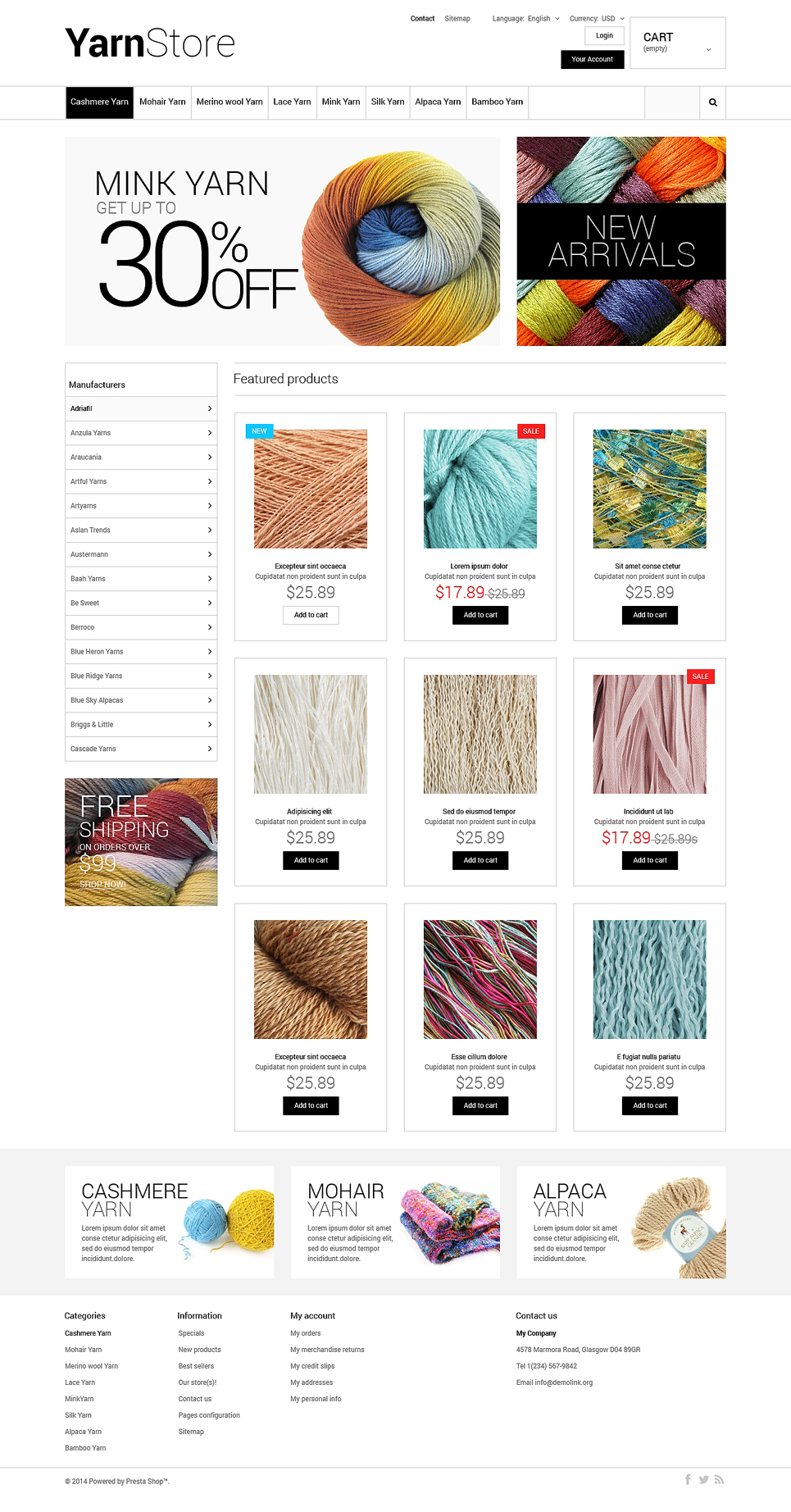 Yarn Store (ecommerce theme for PrestaShop) Item Picture