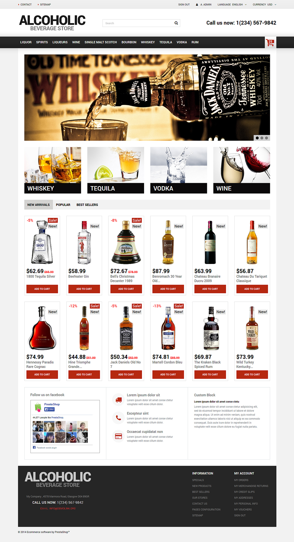 Alcoholic Beverage Store (ecommerce PrestaShop template) Item Picture