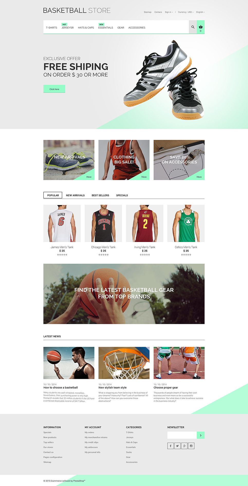 Basketball Uniform Store (ecommerce template for PrestaShop ) Item Picture