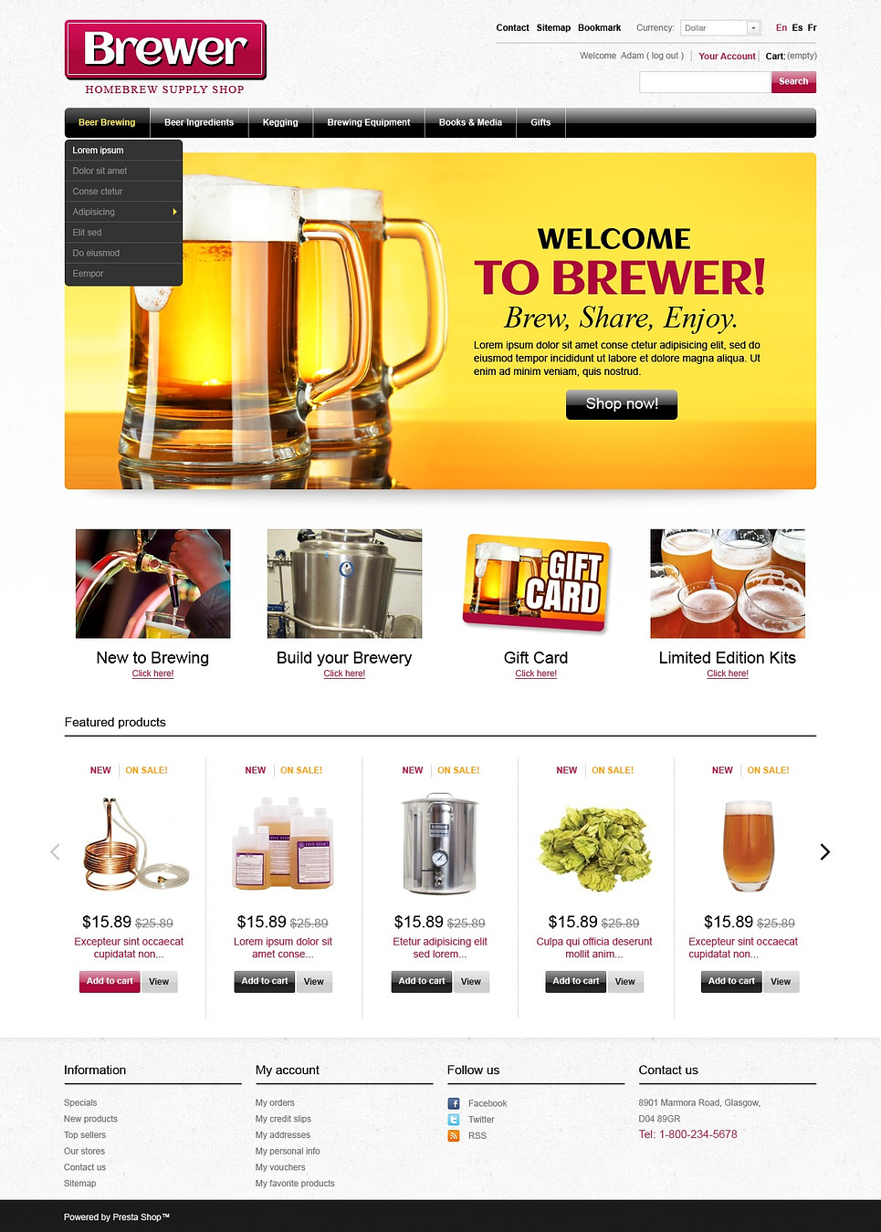 Brewer (template for PrestaShop) Item Picture