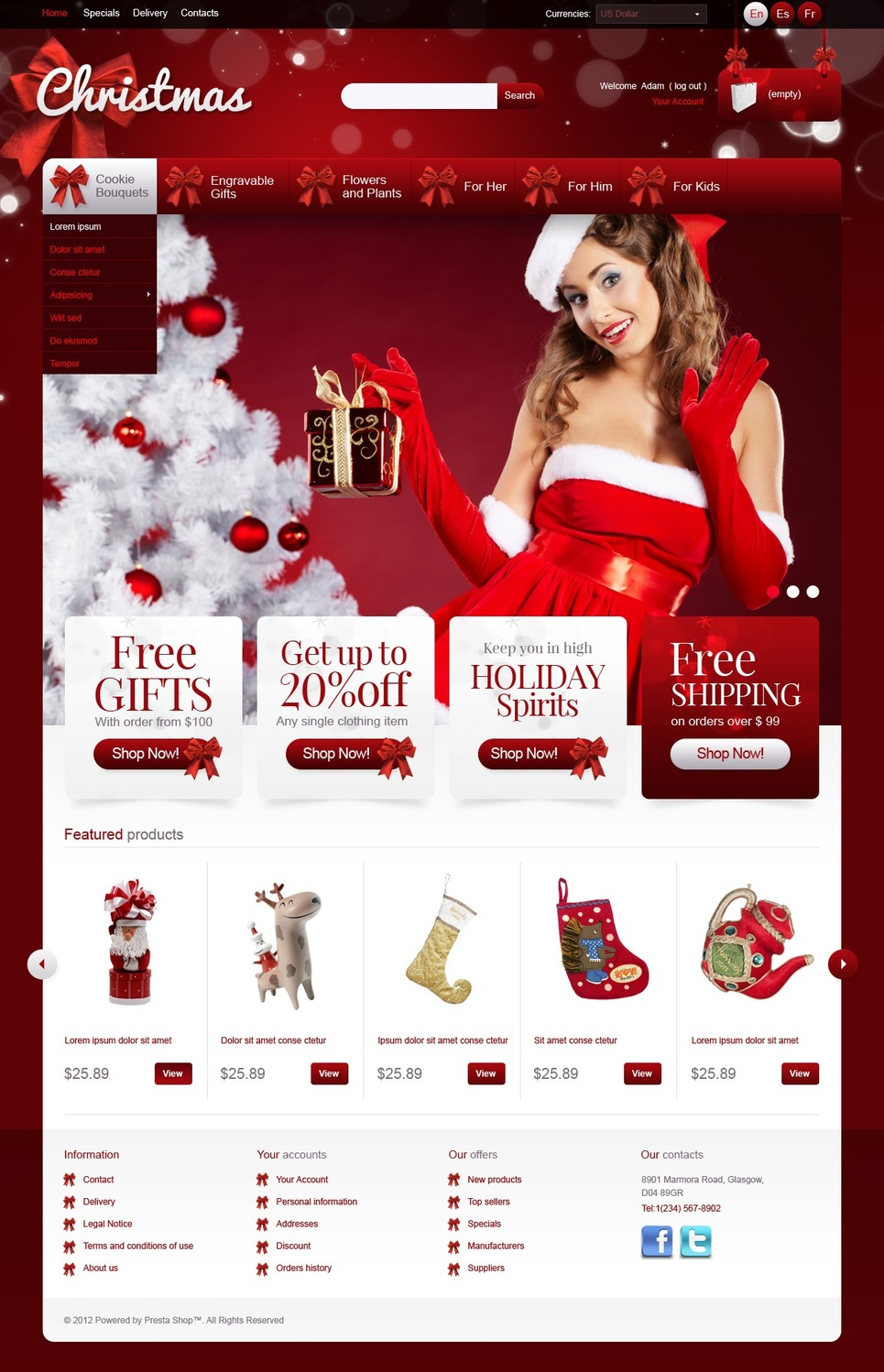 Christmas Gifts (PrestaShop template) Item Picture