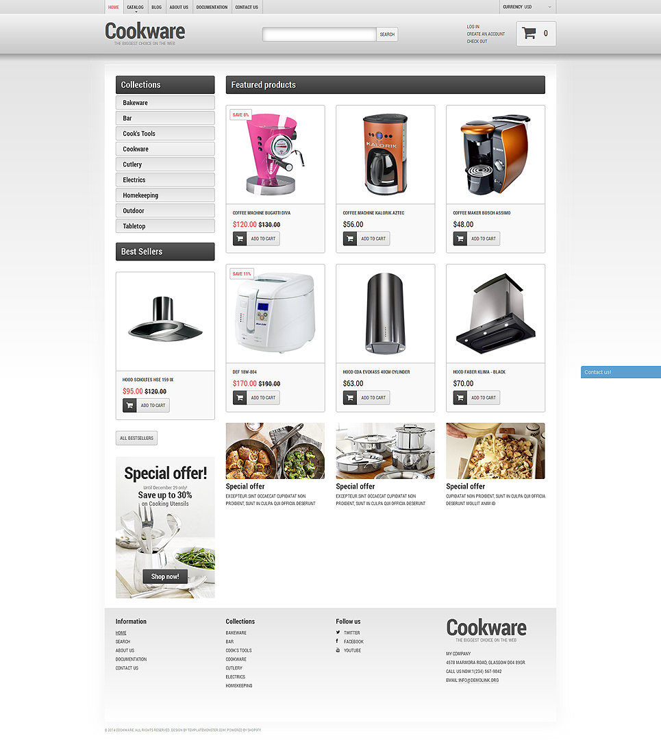 Cookware Store (Shopify theme for ecommerce sites) Item Picture