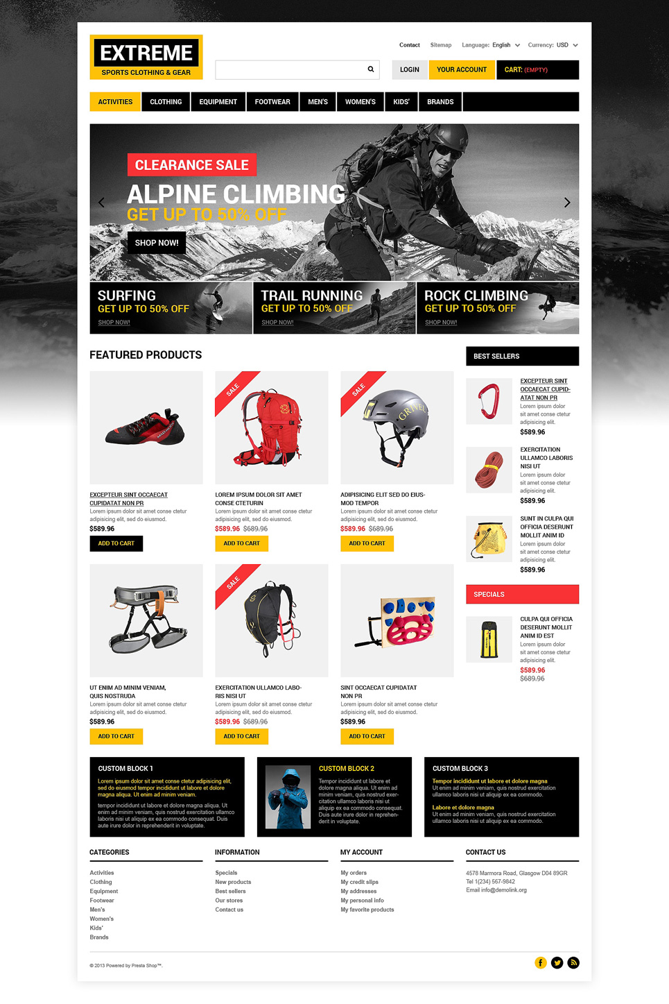 Extreme Sports Clothing Store (ecommerce template for PrestaShop ) Item Picture