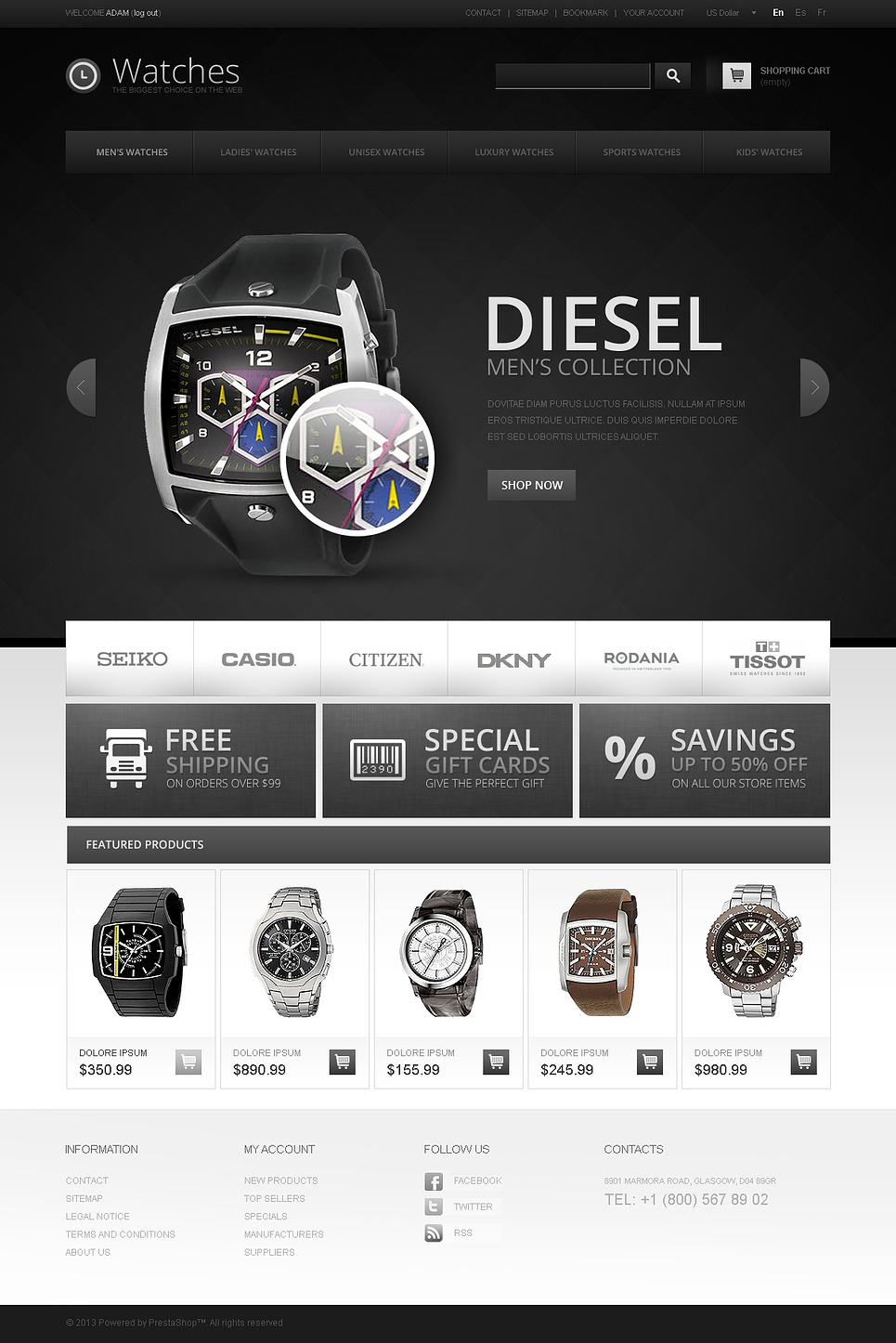 Premium Watches (ecommerce theme for PrestaShop) Item Picture