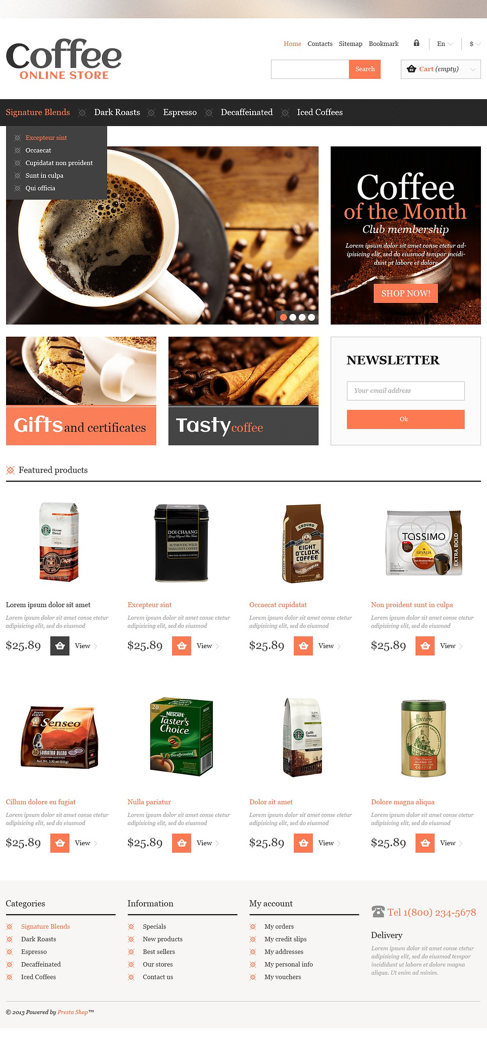 Responsive Coffee Shop (template for PrestaShop) Item Picture