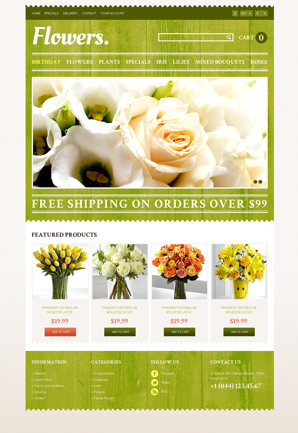 Responsive Flowers Store (ecommerce PrestaShop template) Item Picture