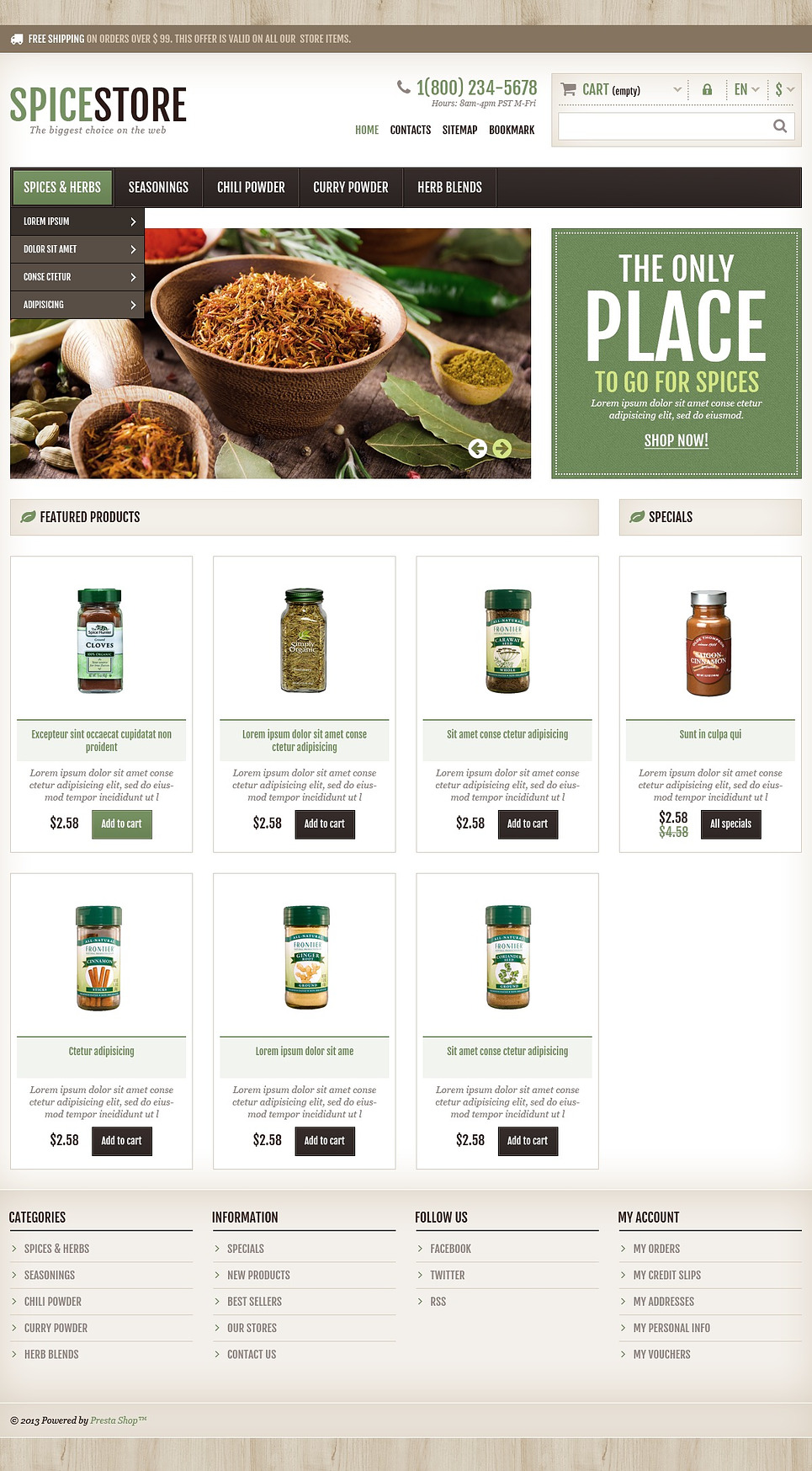 13+ Spice Shop Ecommerce Website Templates (Spice Store