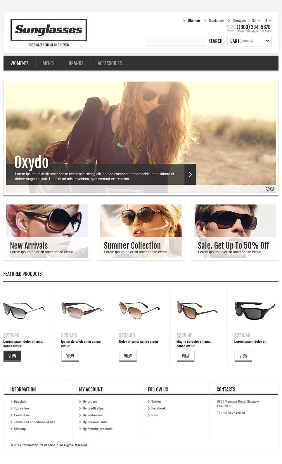 Responsive Sunglasses Store (template for PrestaShop) Item Picture
