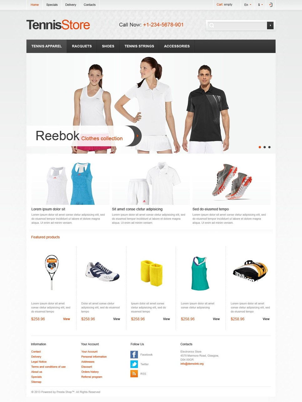 Responsive Tennis Store (ecommerce theme for PrestaShop) Item Picture