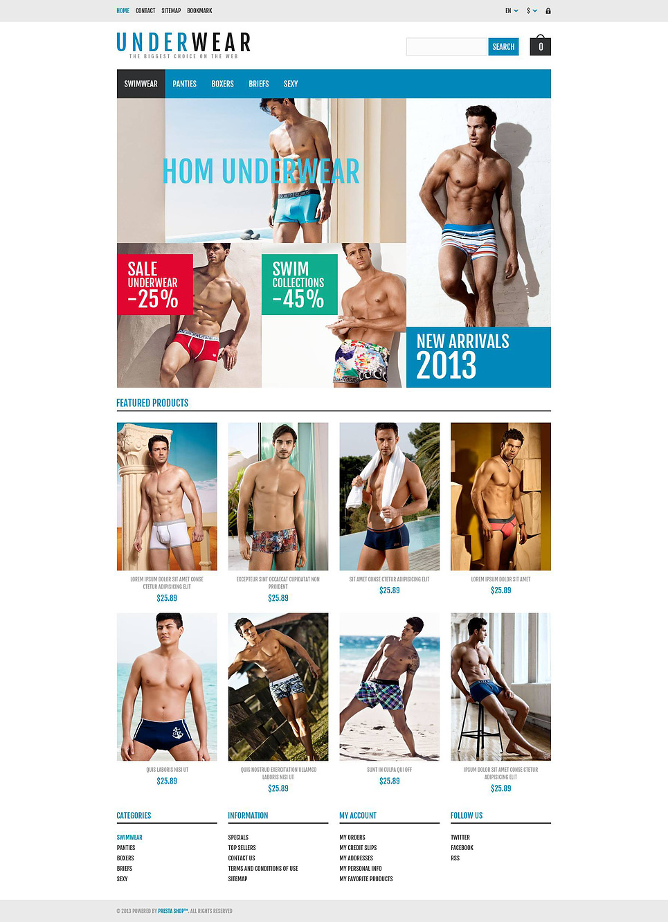 Responsive Underwear Store PrestaShop Theme (template for PrestaShop) Item Picture