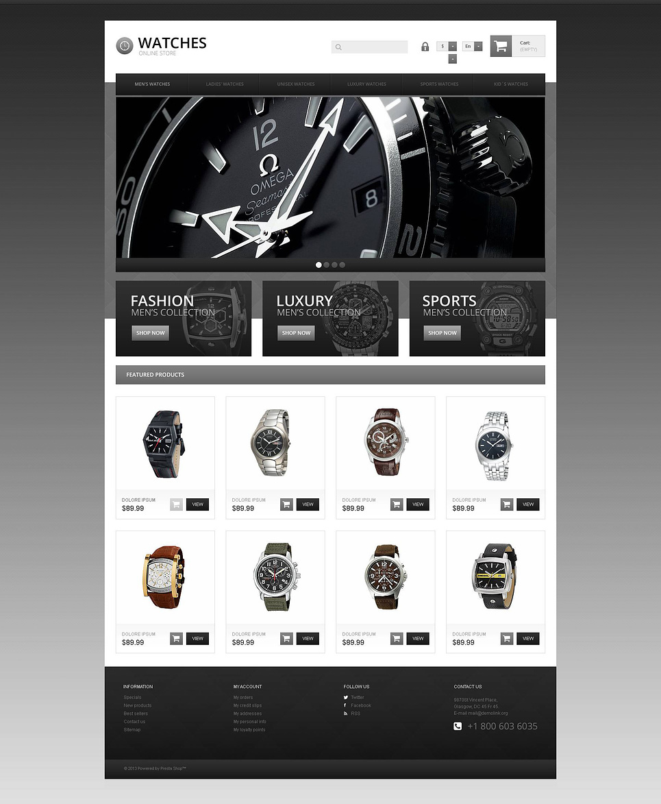 Responsive Watch Store (ecommerce theme for PrestaShop) Item Picture