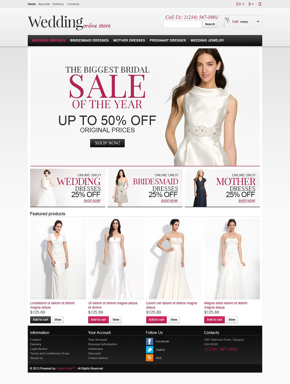Responsive Wedding Store (ecommerce template for PrestaShop ) Item Picture
