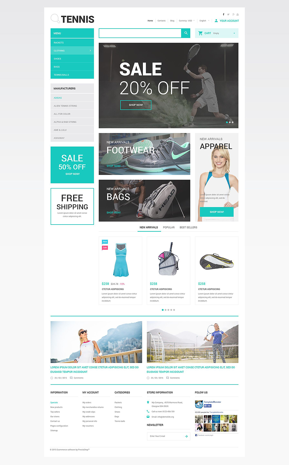 Tennis Accessories Store (ecommerce theme for PrestaShop) Item Picture