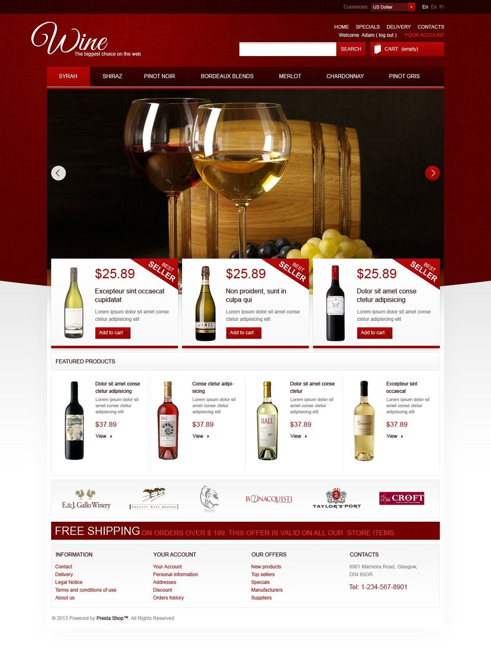 Online Wine Store (ecommerce PrestaShop template) Item Picture