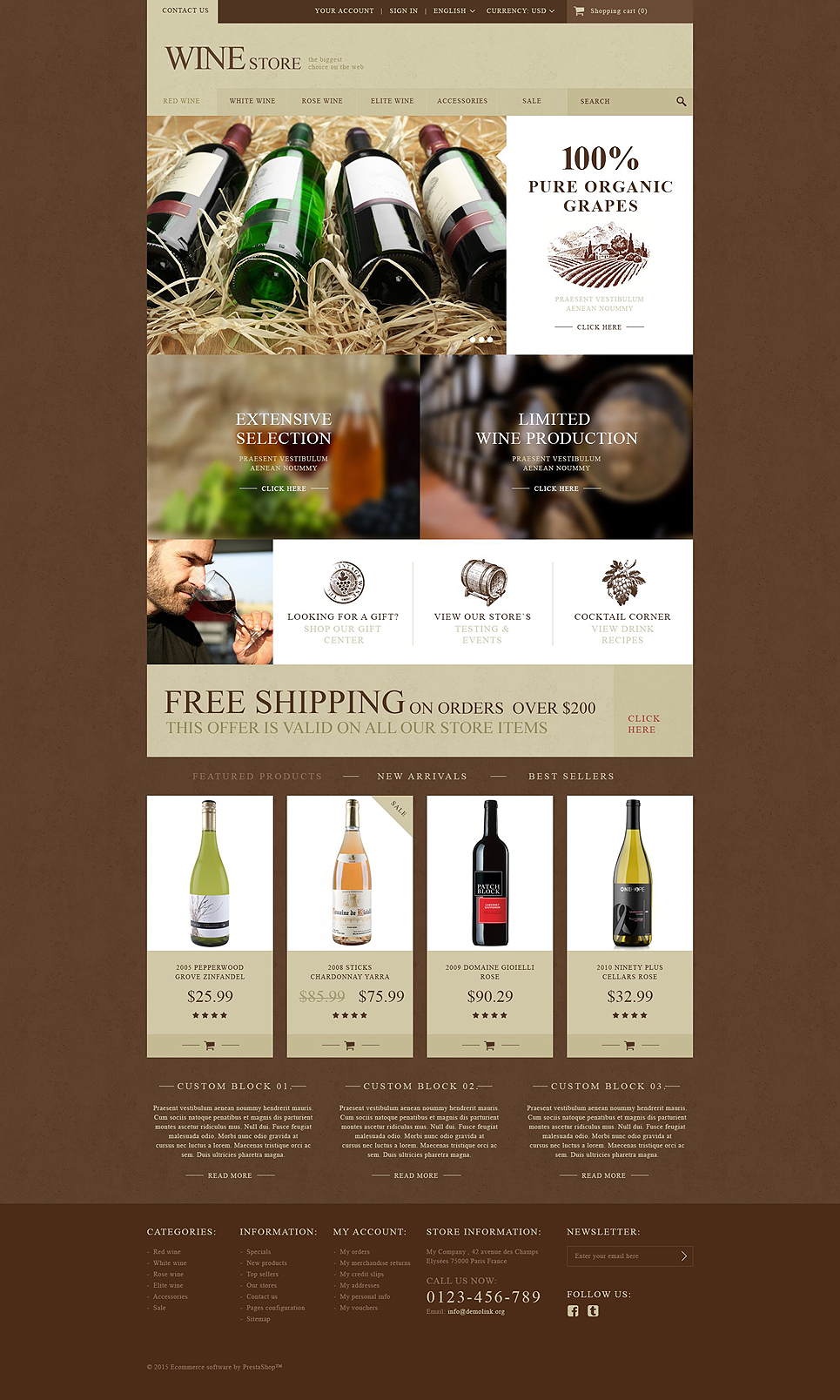 Wine Store (ecommerce PrestaShop template) Item Picture