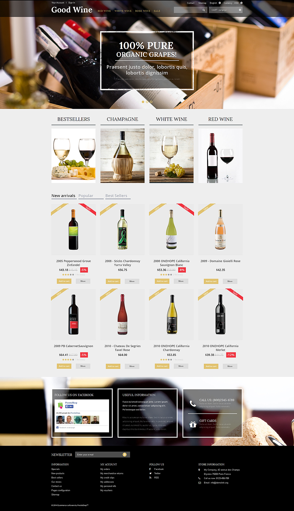 Top 10 wine store ecommerce templates wine prestashop themes wine of superior quality pronofoot35fo Gallery