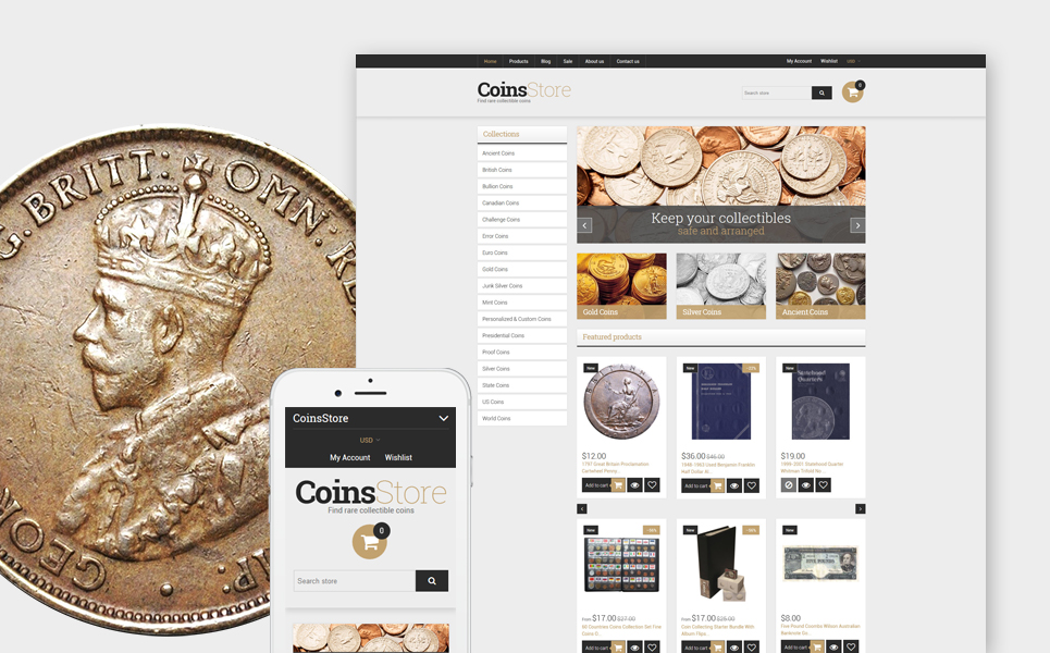 Collectible Coins & Supplies (ecommerce Shopify theme) Item Picture