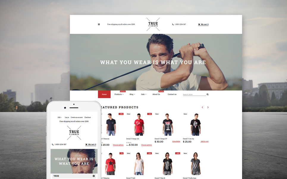 True T-Shirts (ecommerce theme) Item Picture