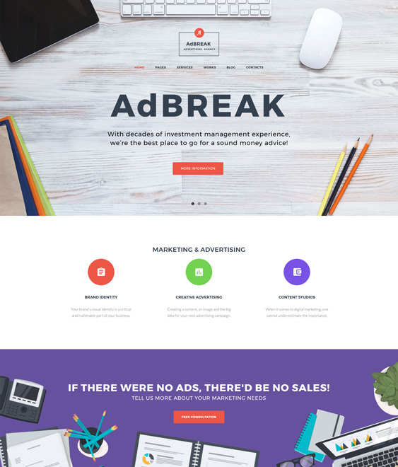 advertising agency wordpress theme