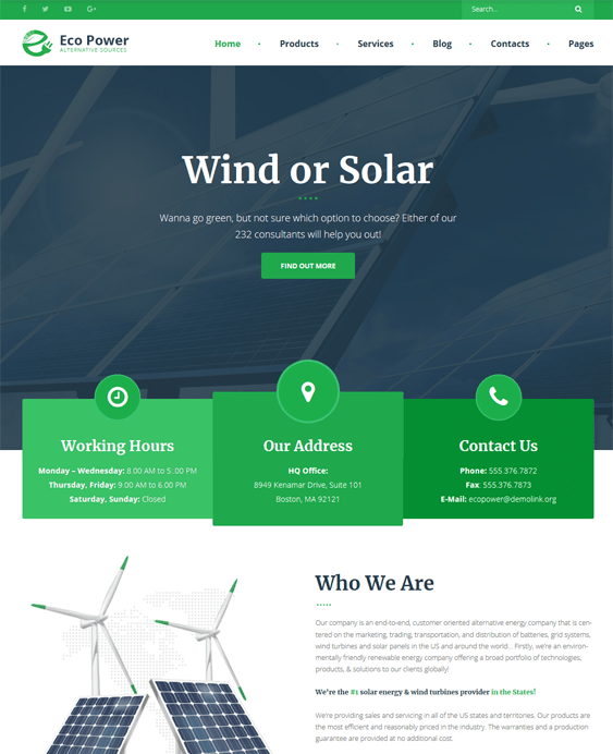 wordpress themes solar wind alternative renewable energy company