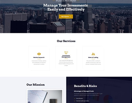 best bootstrap website templates financial advisors investment companies feature