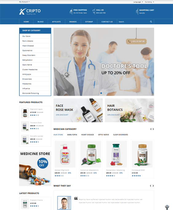 opencart themes health medical stores
