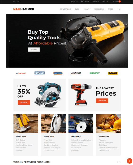 woocommerce themes tool hardware stores