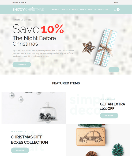 shopify themes for ecommerce Christmas websites