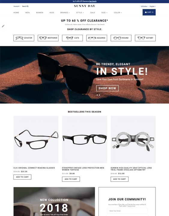 opencart themes for selling sunglasses and eyewear