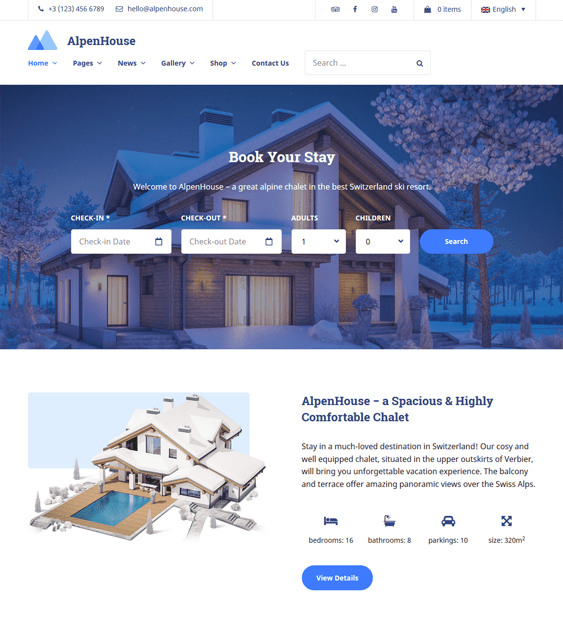 wordpress themes for hotels vacation rentals