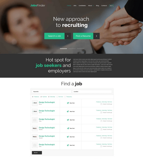 wordpress themes for online job boards and employment websites