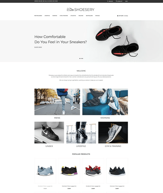 shopify themes for selling shoes footwear