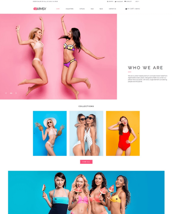 shopify themes for selling swimwear bikinis