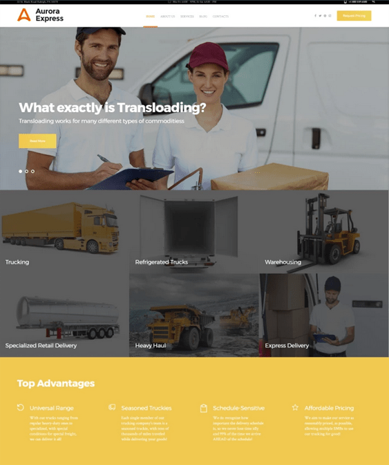 wordpress themes logistics transportation websites