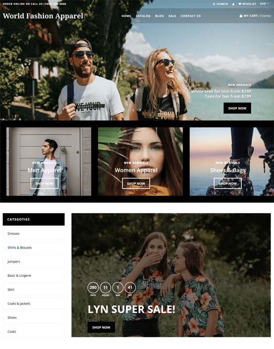 shopify themes for selling clothing and apparel