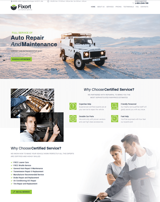 best wordpress themes car repair centers auto mechanics feature