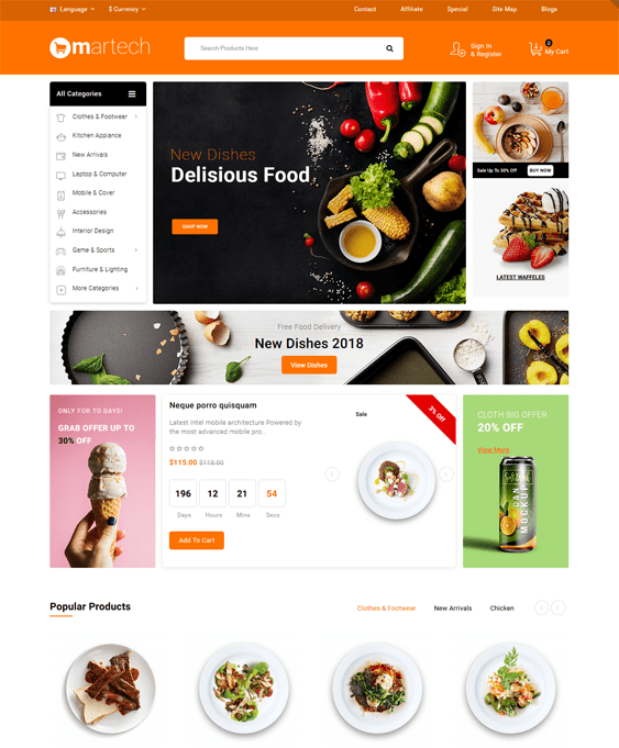 opencart themes for selling groceries food baked goods