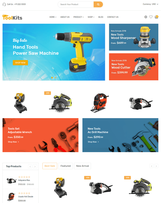 shopify themes hardware tool home improvements