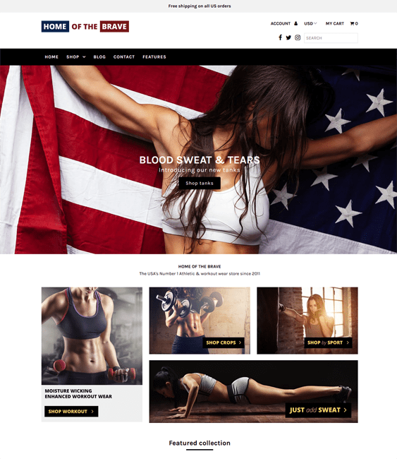 shopify themes for workout clothes athleisure wear