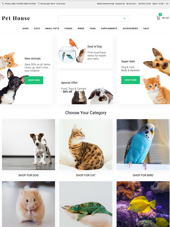 opencart themes for animal and pet stores