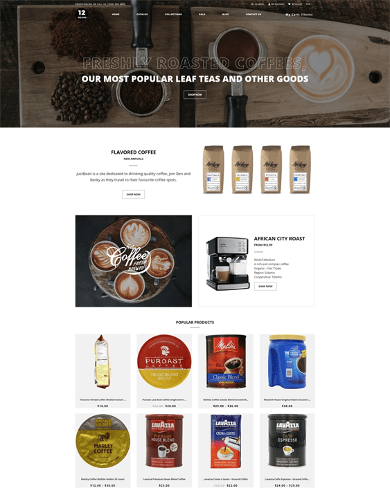 shopify themes for online coffee shops