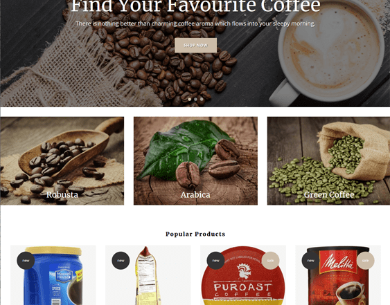 best shopify themes for online coffee shops feature