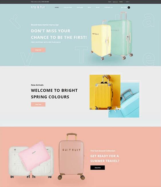 best travel shopify themes for selling luggage and suitcases feature