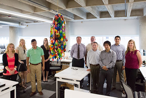 HKS Architects and Akron Children's sent 1,000 origami cranes to Hiroshima to be placed at the Children's Peace Monument.