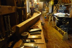 The aft clamp piece was bent in the boat, then brought to the bench to cut the hooked scarf joint