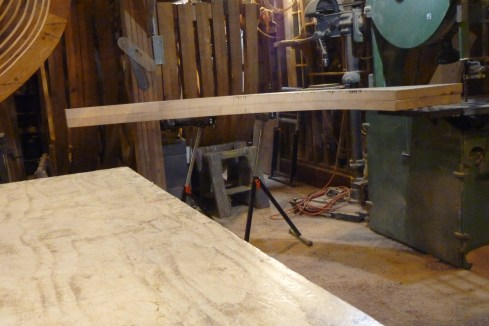 Roller supports were used to help in cutting the fit against the keel/deadwood on the big bandsaw.