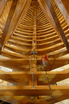 After the keelson is in, the last few frames can be erected and fastened